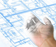 Hand drawing and blueprint architectural background Stock Images