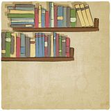 Hand drawing bookshelf old background Stock Images