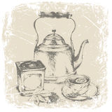 Hand drawing of box of tea, cup of tea, tea leaves,lemon .vector illustration Stock Images