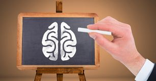 Hand drawing brain on blackboard. Digital composite of Hand drawing brain on blackboard Stock Images