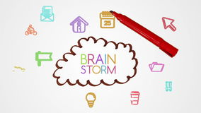 Hand drawing brainstorm with doodle apps. Digital animation of Hand drawing brainstorm with doodle apps stock footage