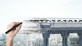 Hand drawing bridge. On abstract city background. Engineering and project concept. 3D Rendering Royalty Free Stock Photo