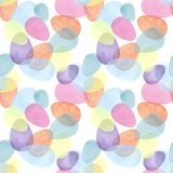 Hand drawing brush Illustration of colorfull eggs with watercolors . Design for paper, textile, background, card. Pattern seamless stock illustration