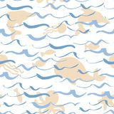 Abstract seamless pattern of waves with marine life. Design for backdrops with sea, rivers or water texture. Figure for. Hand drawing brushpen waves on white Royalty Free Stock Image
