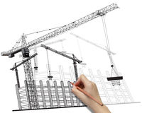 Hand drawing building development concept. Royalty Free Stock Images