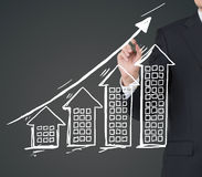 Hand drawing building graph Stock Image