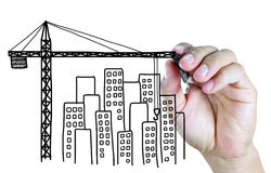 Hand drawing building tower crane sketches Stock Photo