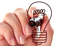 Hand drawing bulb Royalty Free Stock Image