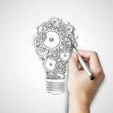 Hand drawing bulb Royalty Free Stock Images