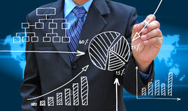 Hand drawing business graph stock images