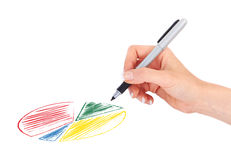 Hand drawing business graph Stock Photography