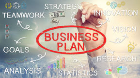 Hand drawing Business Plan flowchart Royalty Free Stock Photography