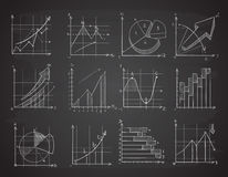 Hand drawing business statistics data graphs, social charts, chalk diagram on blackboard vector set. Infographic chart and drawing charts on blackboard Royalty Free Stock Images