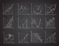 Hand drawing business statistics data graphs, social charts, chalk diagram on blackboard vector set stock illustration