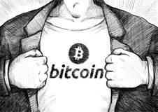 Hand drawing businessman ripping off shirt with bitcoin logo. Hand drawing businessman ripping off shirt with bitcoin logo royalty free stock photos