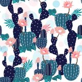 Hand drawing Cactus Plant and flowers  Seamless Pattern. Exotic. Tropical Summer Botanical Background in Vector ,Summer sweet colorful bright on white Stock Images
