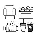 Hand drawing camera clapper soda couch popcorn. Vector illustration eps 10 Royalty Free Stock Photo