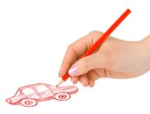 Hand drawing car. Isolated on white background stock photos