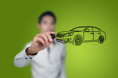 Hand drawing car. Hand drawing car in a whiteboard Stock Image