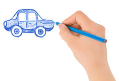 Hand drawing car. On white background Royalty Free Stock Photo