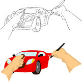 Hand drawing car Stock Images