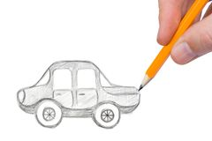 Hand drawing car. Isolated on white background Royalty Free Stock Photos