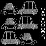 Hand drawing car crash and accidents. Royalty Free Stock Photo