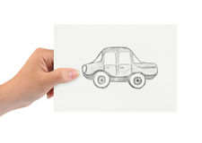Hand with drawing car. Isolated on white background royalty free stock photos