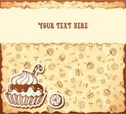 Hand-drawing card from seamless cupcake pattern Royalty Free Stock Photo