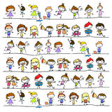 Hand drawing cartoon abstract happy kids Royalty Free Stock Photography