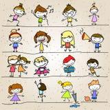 Hand drawing cartoon abstract happy kids Royalty Free Stock Photos