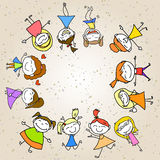 Hand drawing cartoon abstract happy kids Stock Photography