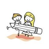 Hand drawing cartoon back to school Royalty Free Stock Photo