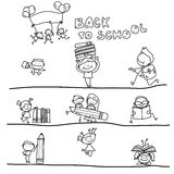 Hand drawing cartoon back to school Royalty Free Stock Photos