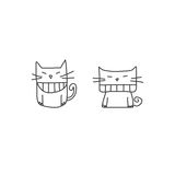 Hand drawing cartoon character happiness Royalty Free Stock Images