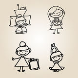 Hand drawing cartoon character happiness Stock Photo