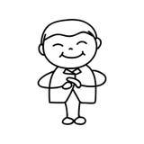 Hand drawing cartoon character Happy Chinese New Year Stock Photos