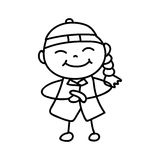 Hand drawing cartoon character Happy Chinese New Year Stock Photos
