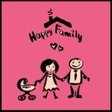 Hand drawing cartoon character happy family Stock Photography