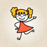 Hand drawing cartoon character happy kids Royalty Free Stock Photos
