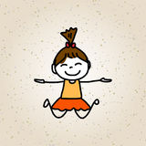Hand drawing cartoon character happy kids Royalty Free Stock Photography