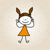 Hand drawing cartoon character happy kids Stock Photos