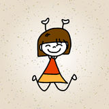 Hand drawing cartoon character happy kids Stock Photography