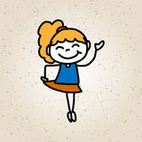 Hand drawing cartoon character happy kids Royalty Free Stock Photo