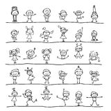 Hand drawing cartoon character happy kids Royalty Free Stock Image