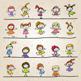 Hand drawing cartoon character happy kids Stock Images