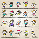 Hand drawing cartoon character happy kids Stock Photo