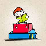 Hand drawing cartoon concept back to school Royalty Free Stock Photography