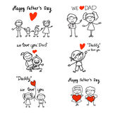 Hand Drawing Cartoon Concept Happy Fathers Day. Royalty Free Stock Photo
