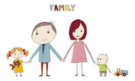 Hand drawing cartoon family. Portrait Stock Image